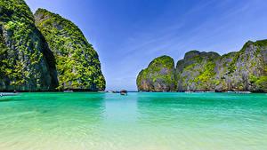 Фото Таиланд Тропики Корабли Залив Утес Maya bay Phi Phi Island