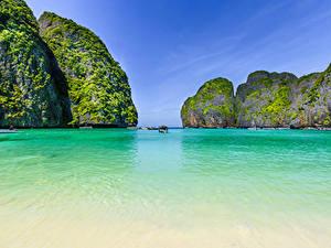 Фото Таиланд Тропический Корабль Залива Скале Maya bay Phi Phi Island