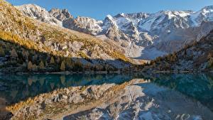 Картинки Италия Горы Озеро Отражение lago Aviolo