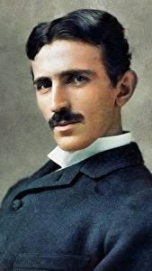 Картинка Мужчины Рисованные Красивый Nikola Tesla Знаменитости