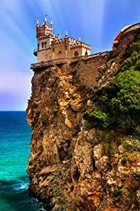 Картинки Россия Крым Замки Море Утес Castle Swallow Города