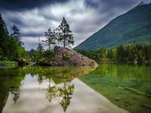 Фотографии Германия Горы Леса Озеро Пейзаж Деревья Hintersee Природа