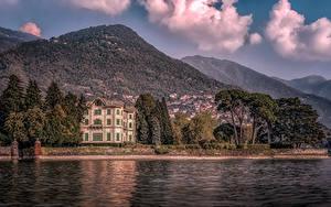 Фото Италия Дома Гора Озеро Вилла Villa Erba Lake Como Города