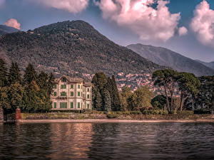 Фото Италия Дома Горы Озеро Вилла Villa Erba Lake Como Города