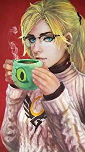 Картинки Overwatch Блондинка Чашка Очки Mercy, Angela Ziegler Игры Девушки