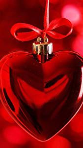 Фотография День святого Валентина Сердце Бантик Красный
