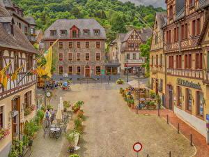 Фотографии Германия Здания Улица Уличные фонари Oberwesel город