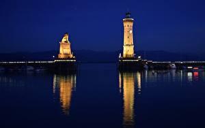 Фото Озеро Маяки Германия В ночи Bodensee, Lindau Города