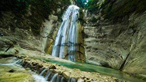 Обои Филиппины Водопады Утес Dao Falls Природа