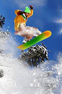 Фотография Зимние Сноуборд Мужчины Снег Прыжок Спорт