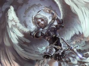 Фотографии Ангелы Воители Крылья Доспехи Девушки