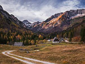 Обои Словения Горы Леса Осень Здания Дороги Альпы Trenta valley Природа