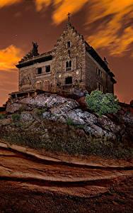 Картинка Испания Дома Вечер Дворца Palace of Canto del Pico Torrelodones