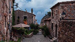 Фотография Испания Здания Улица Зонт Tossa de Mar Catalonia Города