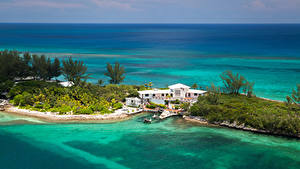 Фотографии Тропики Курорты Побережье Дома Причалы Nassau Bahamas Природа