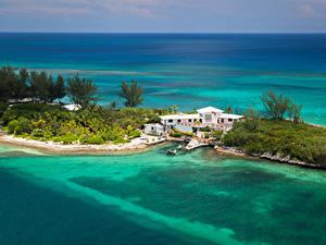 Фотографии Тропики Курорты Побережье Дома Причалы Nassau Bahamas