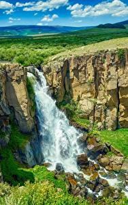 Картинка США Речка Водопады Пейзаж Утес Colorado