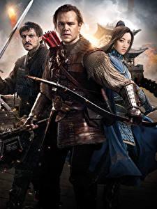 Картинки Воин Matt Damon Великая стена 2016 Втроем Pedro Pascal, Tian Jing Фильмы Знаменитости