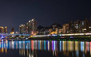 Картинки Китай Дома Мосты Побережье Ночь New Taipei City город