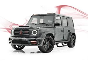 Фотографии Гелентваген Мерседес бенц Белом фоне Серая AMG, Mansory, G63, 2019, Star Trooper авто