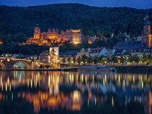 Фотографии Германия Дома Реки Причалы Мосты Ночные Heidelberg Города