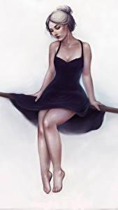 Картинка Рисованные Ноги Платье Сидит Белый фон Девушки