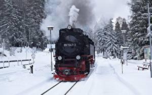 Фотография Зима Поезда Железные дороги Снег Дым