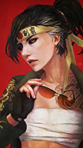 Картинки Overwatch Очки Hanzo компьютерная игра Девушки