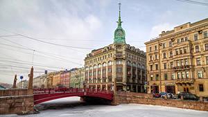 Картинка Санкт-Петербург Россия Дома Река Мосты Снег город
