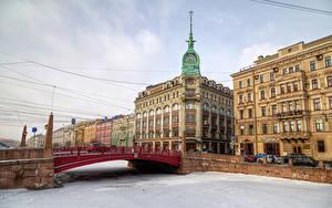 Картинка Санкт-Петербург Россия Дома Речка Мосты Снег Города