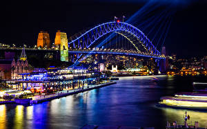 Картинки Австралия Речка Мосты Дома Сидней Ночь город