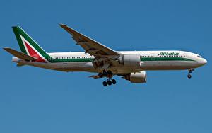Картинка Boeing Самолеты Пассажирские Самолеты Сбоку Alitalia, 777-200ER