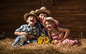 Фотографии Букеты Сено Девочки Мальчишка Трое 3 Шляпе Смеется ребёнок