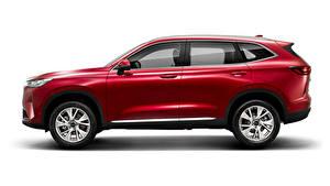 Картинка Haval Красный Металлик Сбоку Кроссовер Белом фоне Китайская H6, 2020 автомобиль