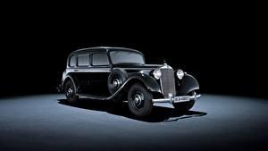 Обои Mercedes-Benz Ретро Серый фон Черный Металлик 1937-42 320 Pullman Limousine машина