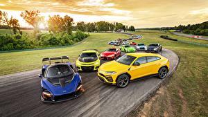 Картинка Mercedes-Benz Chevrolet Lamborghini McLaren Порше Тойота Много