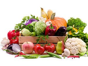 Картинки Овощи Фрукты Яблоки Томаты Груши Грибы Перец Белом фоне Пища
