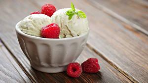 Фотографии Сладкая еда Мороженое Малина Доски