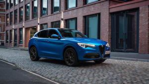 Обои Альфа ромео Синяя Металлик CUV Stelvio Veloce UK-spec, 949, 2020 автомобиль