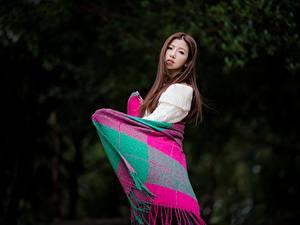 Фото Азиатки Позирует Шатенки Миленькие Plaid девушка
