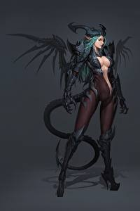 Обои Демон Эльфы Красивая Декольте Хвоста Eusang, Demon Succubus Фэнтези Девушки