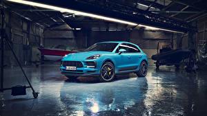 Фотография Porsche Голубой Металлик 2018  Macan S Worldwide Машины