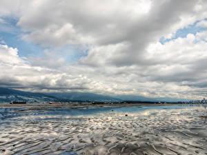 Картинка Канада Зимние Небо Ванкувер Залив Облачно