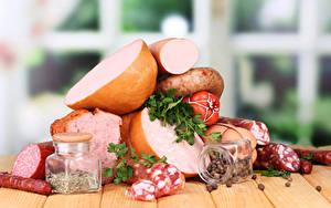 Картинка Мясные продукты Колбаса Специи Банка Продукты питания
