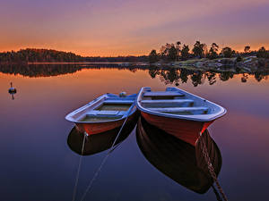 Фотографии Швеция Реки Лодки Рассвет и закат Два Природа