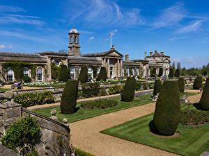 Фотографии Англия Здания Парк Дизайн Газоне Кусты Bowood House Wiltshire Города