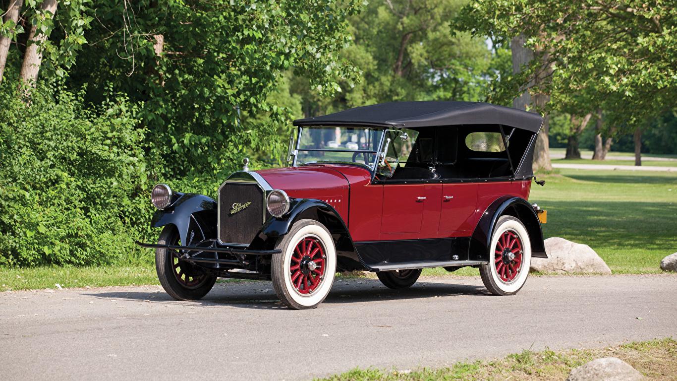 Фотография 1924 Pierce-Arrow Model 33 7-passenger Touring Винтаж бордовые Металлик автомобиль 1366x768 Ретро Бордовый бордовая старинные темно красный авто машина машины Автомобили
