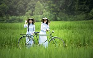 Картинка Азиаты Трава Шляпа Брюнетка 2 Велосипед Девушки