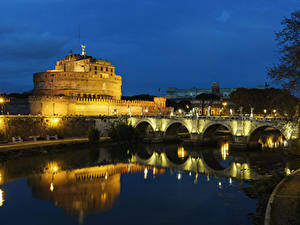 Картинка Италия Рим Замки Река Мосты Ночные Уличные фонари Castel Sant Angelo Города