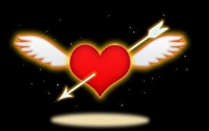 Обои День всех влюблённых Черный фон Сердечко Крылья Стрела
